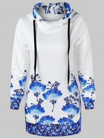 Chinese Painting Pullover Hoodie - MILK WHITE - XL
