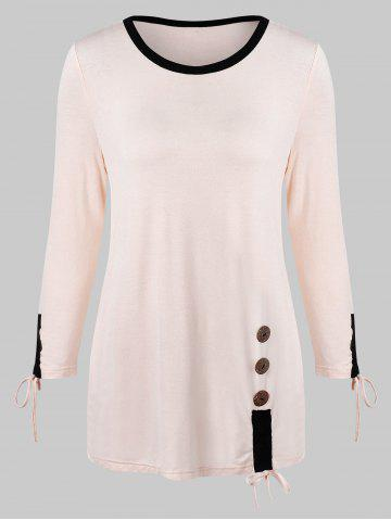 Color Trim Long Sleeve T-shirt with Buttons