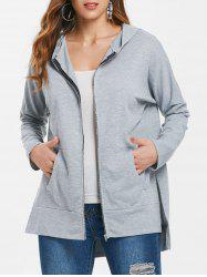 Asymmetrical Long Zipper Hoodie -
