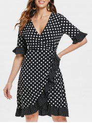 Polka Dot Print Plunging Neckline Wrap Dress -