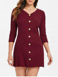 Buttoned Front Mini Knit Dress -