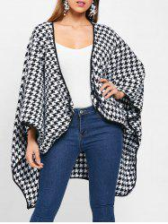 Houndstooth Pattern Batwing Sleeve Coat -