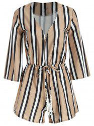 Alluring 3/4 Sleeve Plunging Neck Stripe Women's Romper -