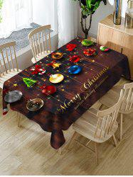 Christmas Hanging Balls Print Fabric Waterproof Tablecloth -
