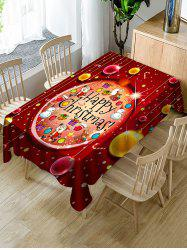 Happy Christmas Print Fabric Waterproof Tablecloth -