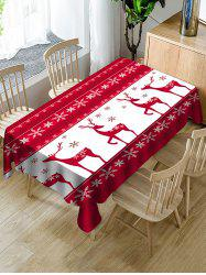 Christmas Elk Snowflake Print Fabric Waterproof Tablecloth -