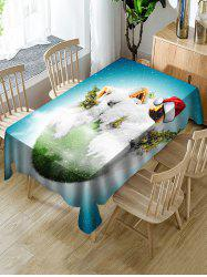 Christmas Earth Print Fabric Waterproof Tablecloth -
