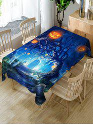 Halloween Pumpkin Tree Print Fabric Waterproof Tablecloth -