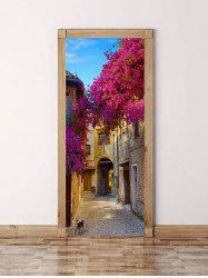 Flowers Alley Print Door Cover Stickers -