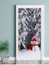 Christmas Snowman Forest Print Door Cover Stickers -