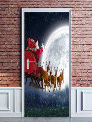 Christmas Moon Deer Sleigh Print Door Stickers -