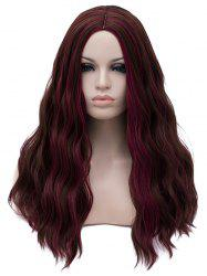 Long Center Parting Highlight Wavy Party Synthetic Wig -