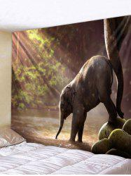 Wall Hanging Art Sunlight Elephant Print Tapestry -