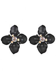 Colored Rhinestone Floral Stud Earrings -