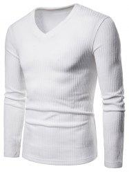 Solid Color V Neck Knitwear -