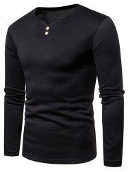 Button Embellished Fleece Long Sleeve T-shirt -