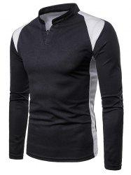 Casual Color Block Stand Collar T-shirt -