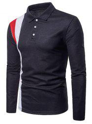 Splicing Polo Collar Casual Tee -
