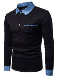 Decorative Pocket Long Sleeve Polo Shirt -