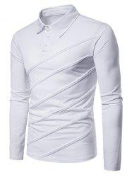 Spliced Fold Design Solid Color Polo Shirt -