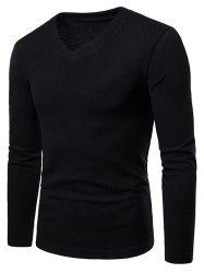 V Neck Long Sleeve Slim Fit T-shirt -