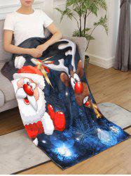 Father Christmas Deer Printed Flannel Soft Blanket -