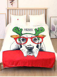 Merry Christmas Dog Printed Flannel Bed Blanket -