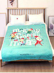 Father Christmas Elk Printed Flannel Bed Blanket -