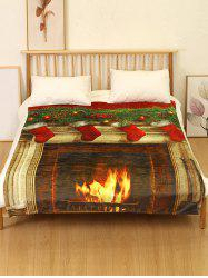 Christmas Fireplace Flannel Soft Bed Blanket -
