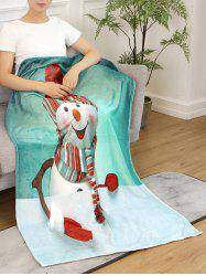 Snowman Print Flannel Soft Bed Blanket -