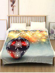 Christmas Snowflake Ball Print Flannel Soft Bed Blanket -