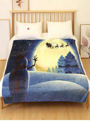 Christmas Elk Night Printed Flannel Bed Blanket -