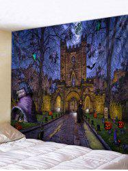 Wall Hanging Art Halloween Night Castle Print Tapestry -
