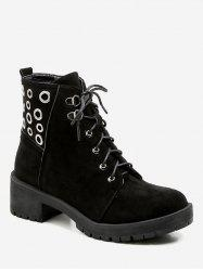 Lace Up Grommet Suede Ankle Boots -