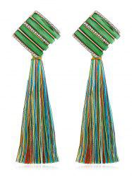Rhinestone Striped Long Tassel Drop Earrings -
