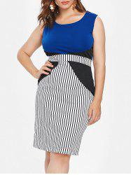 Plus Size Striped Panel Bodycon Dress -