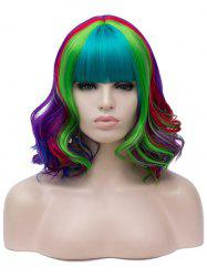 Medium Neat Bang Colorful Wavy Party Halloween Synthetic Wig -