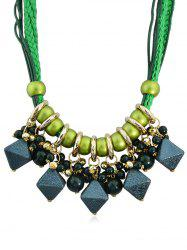 Geometric Shape Beads Layered Rope Necklace -