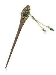 Rhinestone Pendant Peacock Tail Design Hair Stick -