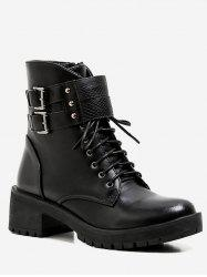 Lace Up Buckle Strap Ankle Boots -