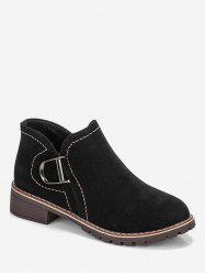 Sewing Chunky Heel Suede Short Boots -