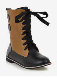 Plus Size Lace Up Mid Calf Boots -