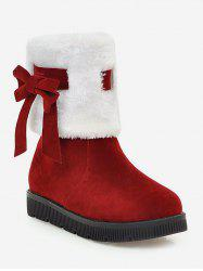 Plus Size Faux Fur Bow Short Boots -
