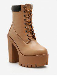 Lace Up Platform Chunky Heel Boots -