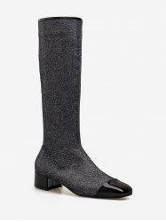 Chunky Heel Sparkling Knee High Boots -