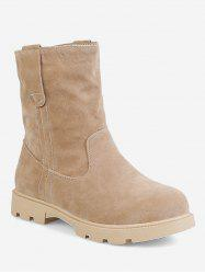 Plus Size Low Heel Suede Sewing Boots -