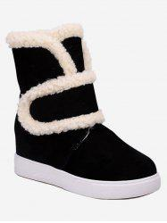 Plus Size Faux Fur Trim Suede Snow Boots -