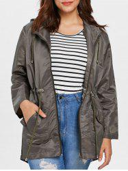 Plus Size Rose Graphic Hooded Coat -