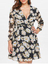 Plus Size Floral Flowy Wrap Dress -