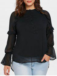 Plus Size Mesh Ruffle High Low Blouse -